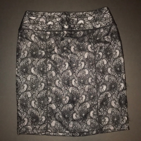 Relativity Dresses & Skirts - Relativity pencil skirt black lace over gray satin